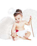 Asian baby boy in a angel fancy dress. On a white background Stock Image