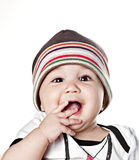 Asian baby boy in a cap. Isolated on white Stock Photography