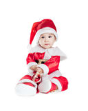 Asian baby boy in a christmas fancy dress. On a white background Royalty Free Stock Photography