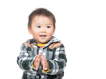 Asian baby boy clapping hand Royalty Free Stock Image