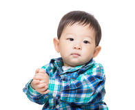 Asian baby boy clapping hand Stock Photos