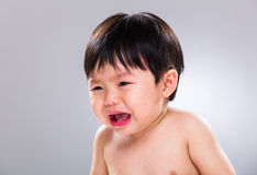 Asian baby boy crying Royalty Free Stock Image