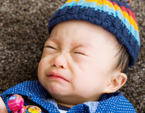 Asian baby  boy crying Royalty Free Stock Photos
