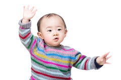 Asian baby boy dance. Isolated on white stock image