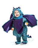 Asian baby boy in a dragon fancy dress Stock Photos