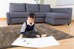 Asian baby boy drawing Stock Image