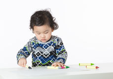 Asian baby boy drawing Stock Photo