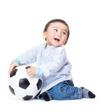 Asian baby boy feel excited playing soccer ball. On white Royalty Free Stock Photography