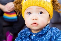 Asian baby boy feeling sad Stock Images