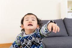 Asian baby boy feeling upset Stock Image