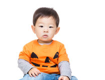 Asian baby boy with halloween dressing Royalty Free Stock Photos