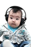 Asian baby boy with headphones Stock Photography