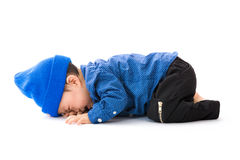 Asian baby boy lay down crying. Isolated on white Royalty Free Stock Photos