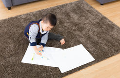 Asian baby boy love drawing Stock Images