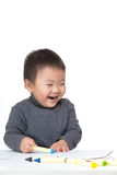 Asian baby boy love drawing Royalty Free Stock Image