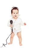 Asian baby boy with microphone stock photography