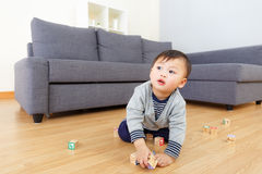 Asian baby boy play with toy block Stock Image