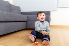 Asian baby boy play toy block Stock Photo