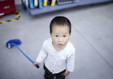 Asian baby boy playing in the shopping center Stock Photo