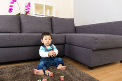 Asian baby boy playing toy block Royalty Free Stock Images