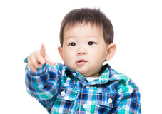 Asian baby boy point front Royalty Free Stock Images