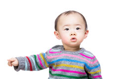 Asian baby boy pointing aside Royalty Free Stock Photos