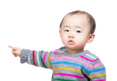 Asian baby boy pointing aside Royalty Free Stock Image