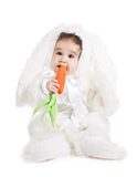 Asian baby boy in a rabbit fancy dress. On a white background Stock Images