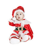 Asian baby boy in a red christmas cap Stock Photography
