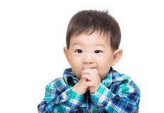 Asian baby boy suck finger Stock Image