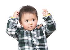 Asian baby boy thinking Stock Photo