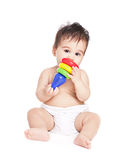 Asian baby boy with toy Royalty Free Stock Images