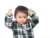 Asian baby boy two hand up Stock Photography