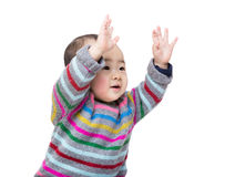 Asian baby boy two hands up Royalty Free Stock Photo