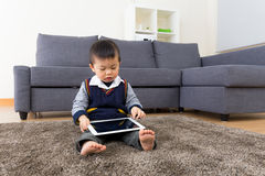 Asian baby boy using tablet Royalty Free Stock Photo