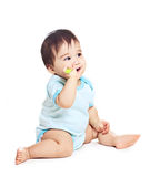 Asian baby boy on a white background Royalty Free Stock Photo