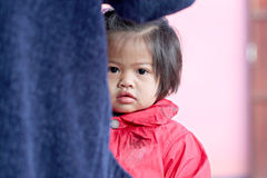 Asian baby child girl in red dressed. Royalty Free Stock Photo