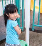 Asian baby child playing on playground Stock Images
