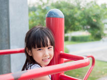 Asian baby child playing on playground Royalty Free Stock Photos