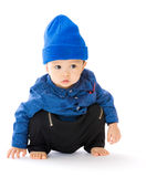 Asian baby crouching on floor Stock Photography