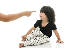 Asian baby crying while mother scolding Royalty Free Stock Image