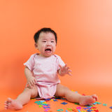 Asian baby crying Royalty Free Stock Photography