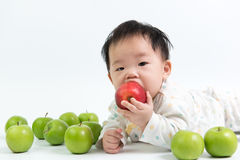 Asian baby eating red apple Stock Photography