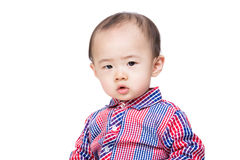 Asian baby feel hesitation Royalty Free Stock Photography