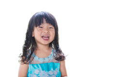 Asian baby girl in blue dress, isolated on white background. Stock Photography