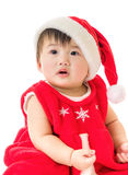 Asian baby girl with christmas dressing Royalty Free Stock Photos