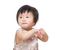 Asian baby girl clapping hand Stock Image