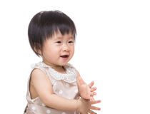 Asian baby girl clapping hand Royalty Free Stock Photo