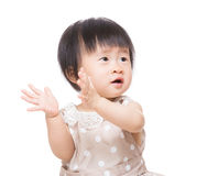Asian baby girl clapping hand Stock Images