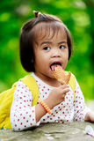 Asian baby girl eating icecream Royalty Free Stock Image